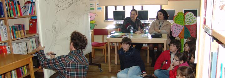 Escritores Pedro Seromenho e Maria do Céu Nogueira nas escolas de Barcelos