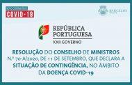 Resolução do Conselho de Ministros n.º 70-A /2020, de 11 de setembro, que declara a situação de contingência, no âmbito da doença Covid-19.