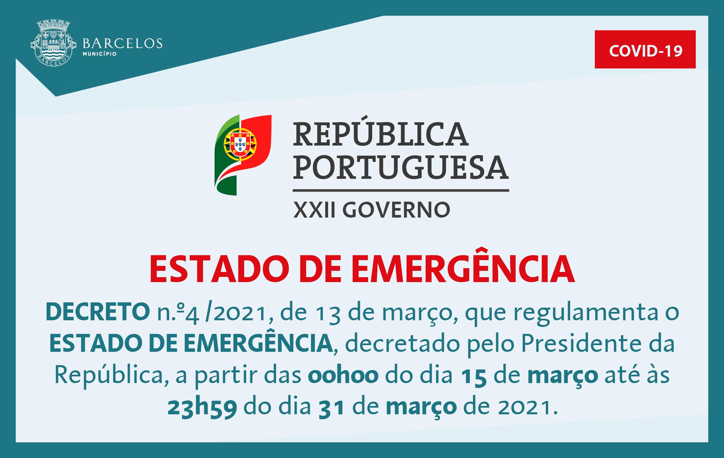 Decreto n.º4/2021, de 13 de março, que regulamenta o Estado de Emergência