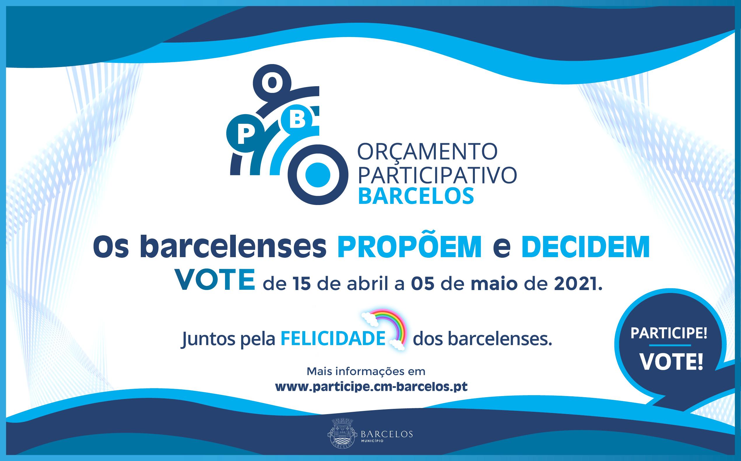 Propostas do Orçamento Participativo de Barcelos em votação de 15 de abril a 5 de maio